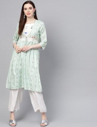 W light green round neck kurti
