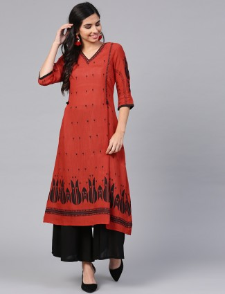 W long pattern rust orange kurti