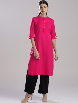 W magenta color plain kurti
