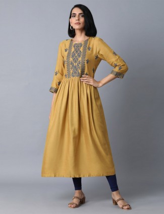 W mustard yellow kurti design in cotton