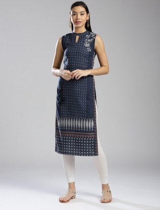 W navy hue printed kurti in cotton