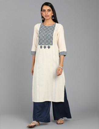 W Off white cotton kurti for casual wear