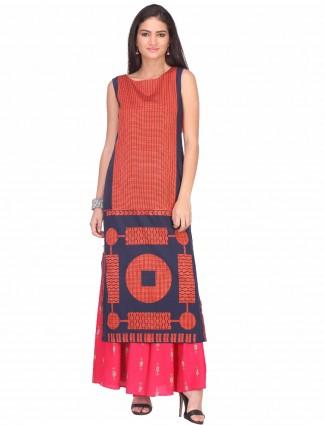 W orange printed casual wear cotton kurti