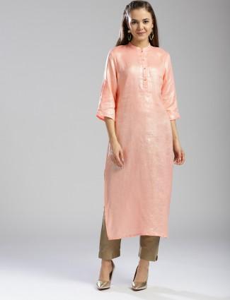W Peach color linen fabric kurti