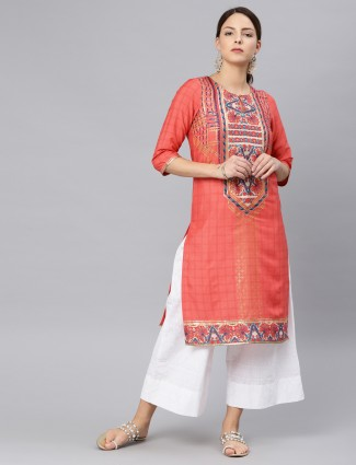 W peach hue cotton kurti