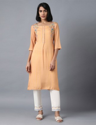 W peach round neck cotton kurti