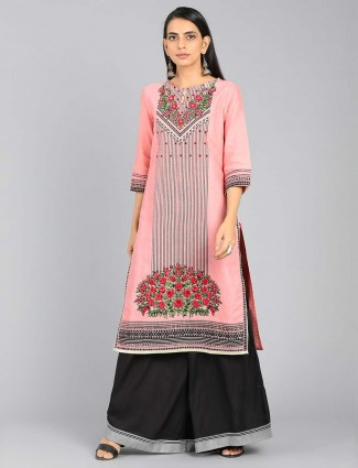 W Pink color cotton fabric kurti