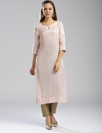 W Pink color linen fabric kurti for women