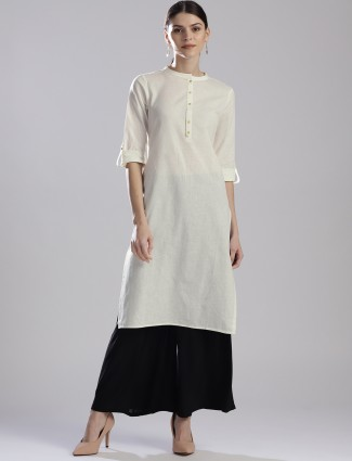W plain off white hued casual kurti