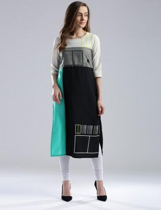 W polyester printed black kurti