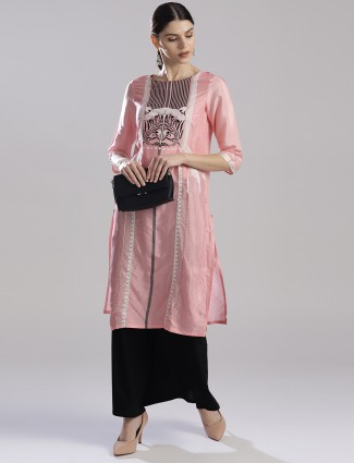 W pretty pink cotton casual kurti