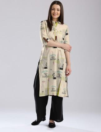 W printed beige cotton casual wear kurti