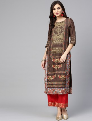 W printed brown hue cotton kurti
