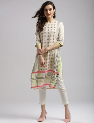 W printed cotton attractive festive wear kurti