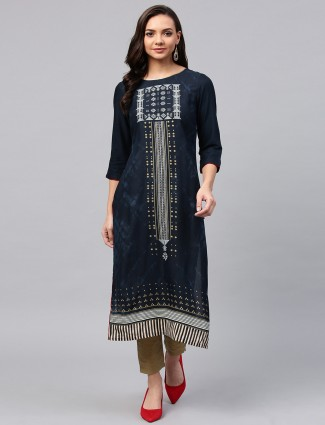 W printed pattern navy long kurti