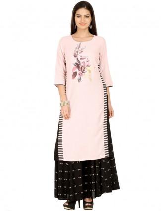 W printed pink cotton kurti