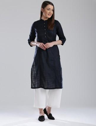W solid black cotton kurti