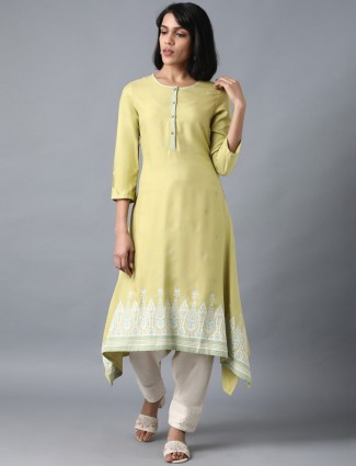 W solid pista green cotton kurti