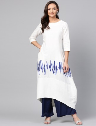 W solid white colored cotton kurti