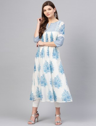 W white and blue printed casual kurti