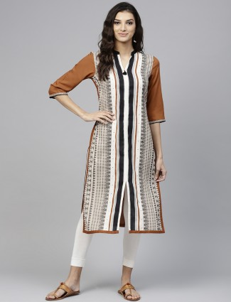 W white and brown printed cotton kurti