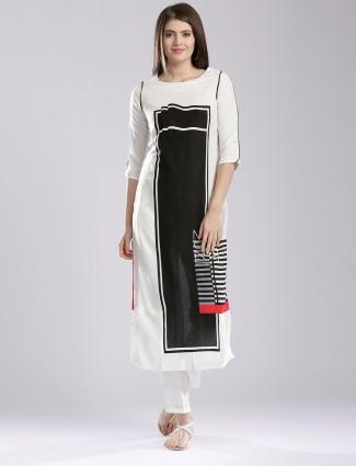 W white casual wear cotton solid kurti
