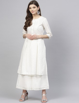 W white colored festive wear kurti