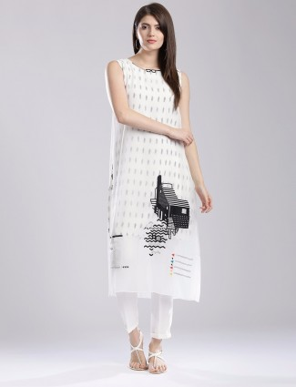 W white georgette printed festive wear kurti