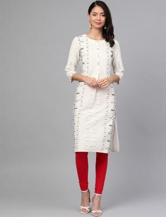 W white kurti in printed cotton