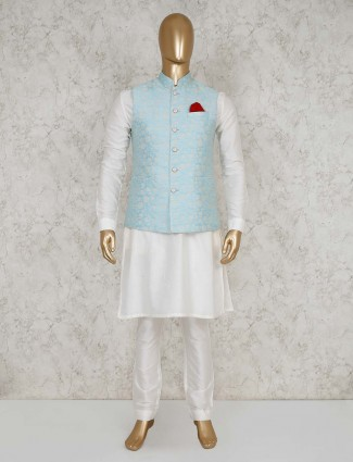 Waistcoat and churidar set in aqua for party