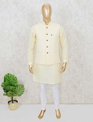 Waistcoat set for mens in lemon yellow