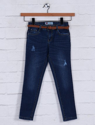 Washed navy denim fabric jeans