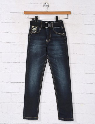 Washed navy vintage denim jeans for boys