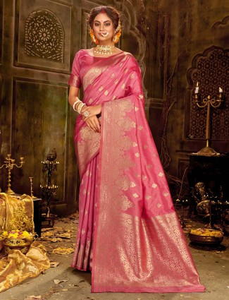 Weddign pink banarasi silk saree with zari weave