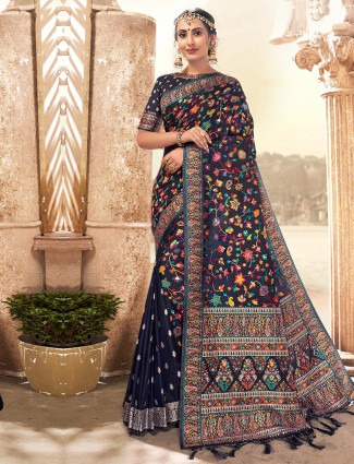 Wedding banarasi silk dark blue saree