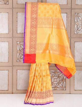 Wedding banarasi silk saree in gold color