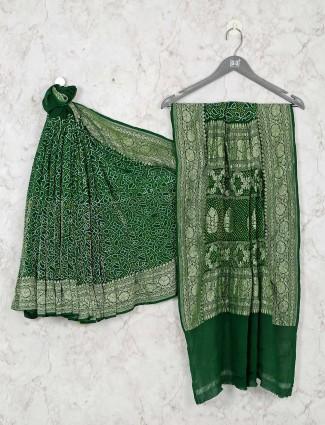 Wedding bandhej saree in green