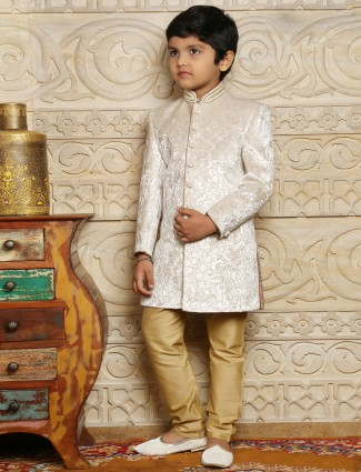 Wedding off white wear velvet boys sherwani