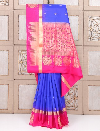 Wedding blue and magenta color silk saree