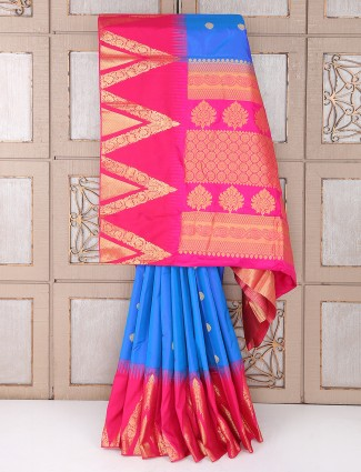 Wedding Blue and magenta saree