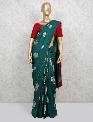Wedding bottle green dola silk saree