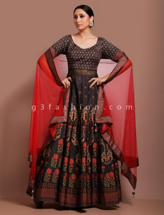 Wedding brown cotton silk gota,stone work anarkali suit