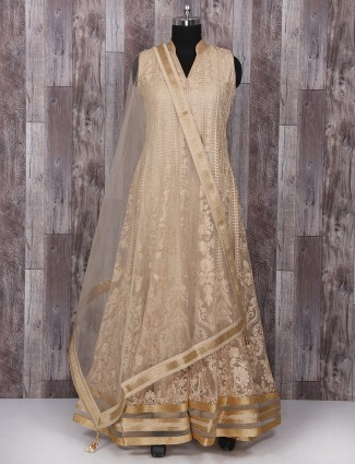 Wedding cream net anarkali suit