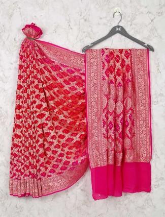 Wedding days Red Bandhej Saree