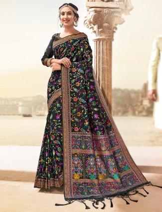 Wedding function black banarasi silk saree