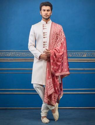 Wedding function cream cotton silk indo western
