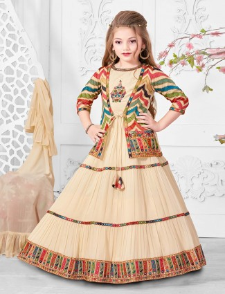Wedding function cream georgette lehenga choli