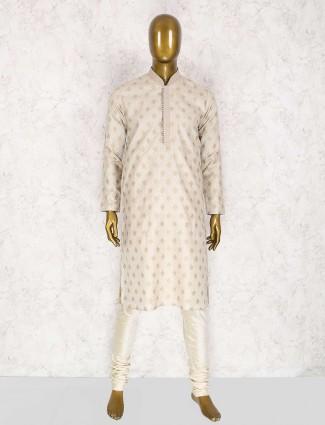 Wedding function cream silk kurta suit