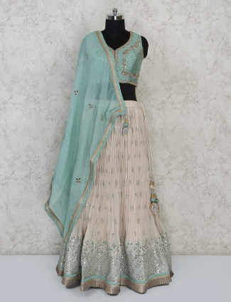 Wedding function green georgette lehenga choli