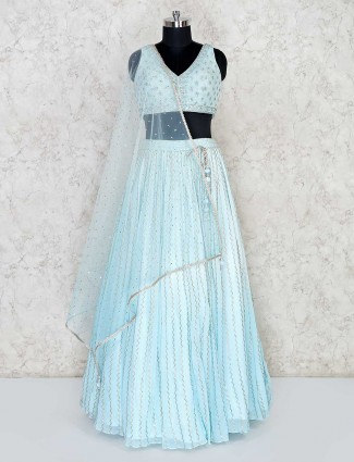 Wedding function lehenga choli in sky blue georgette